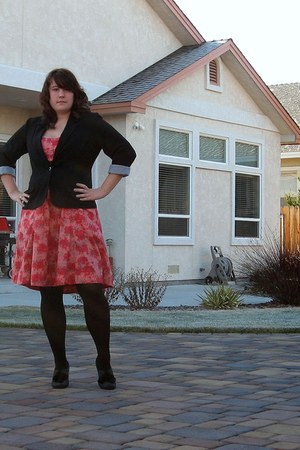 ruby red H&M dress - black HUE tights - black kohls coat - heather gray Anne Mar