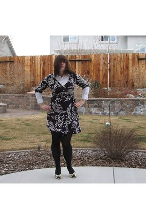 purple H&M dress - black HUE tights - white unknown brand shirt - white DSW shoe
