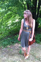 brown thrifted bag - tan Aldo sandals - gifted necklace