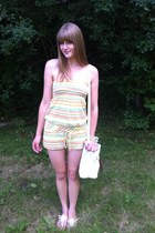 yellow striped Forever21 romper - white thrifted bag