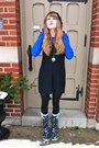 Navy-target-boots-black-h-m-dress-blue-gap-shirt