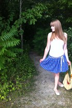 blue plaid DIY skirt - tan Gap bag - white le chateau flats - white Jacob top
