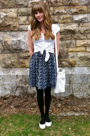 white thrifted bag - navy thrifted dress - white thrifted blouse