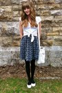 Navy-thrifted-dress-white-thrifted-bag-white-thrifted-blouse