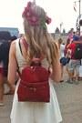 Red-garage-sale-belt-white-thrifted-dress-ruby-red-garage-sale-bag
