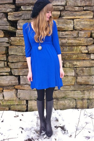 black thrifted boots - blue thrifted dress