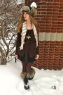 Black-sorel-boots-black-thrifted-dress-dark-brown-wool-jacob-sweater