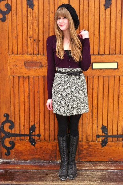 black handmade skirt - deep purple Joe Fresh cardigan