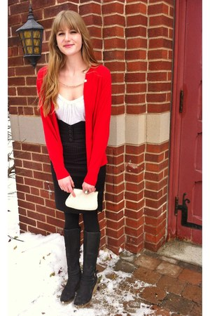 red thrifted sweater - cream beaded Goldco Vintage purse - black thrifted skirt