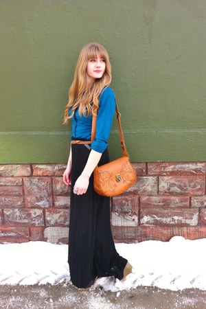 tawny thrifted bag - black maxi thrifted skirt - teal thrifted blouse