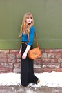 Tawny-thrifted-bag-teal-thrifted-blouse-black-maxi-thrifted-skirt