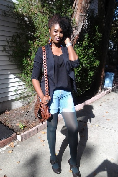 black blazer - brown shoes - diy thrifted jeans - green tights - bag