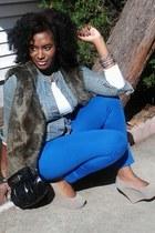 faux fur Apt 9 vest - jeans jacket - white cotton shirt
