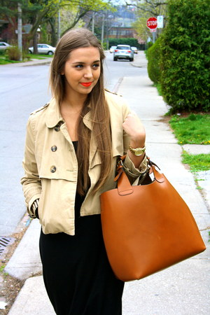 camel H&M jacket - black H&M dress - studded Forever 21 bracelet