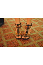 Salmon-dress-dark-brown-studded-doll-house-heels