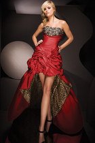 ruby red leopard tony bowls dress