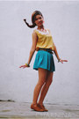 Mustard-forever-21-top-teal-skirt-with-belt-oasap-skirt