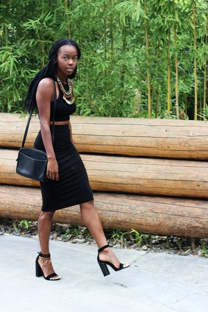 black two- piece H&M skirt - Zara heels - handmade necklace