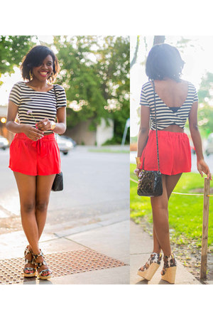 Pay half top - Forever21 purse - orange Pay half shorts - Akira earrings