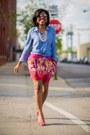 Blue-chambray-h-m-top-aviator-aldo-sunglasses-hot-pink-h-m-skirt