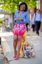 blue chambray H&M top - aviator Aldo sunglasses - hot pink H&M skirt