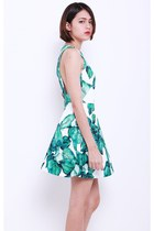 ANNA PALM TREES DRESS - WHITE