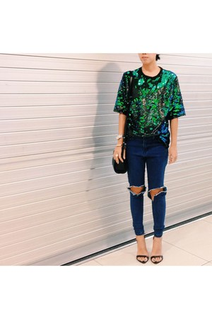 turquoise blue TheScarletRoom jeans - sling bag Alexander Wang bag