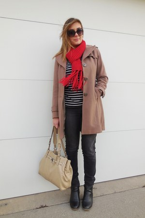 camel Cole Haan coat - black boots - charcoal gray jeans - ruby red scarf