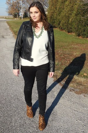 leopard print wedges - black jacket - white sweater - black pants