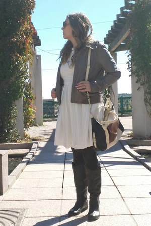 white calvin klein dress - black boots - tan jacket - black tights
