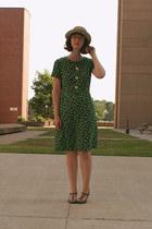 floral vintage dress - straw Aldo Accesories hat - t strap Aldo heels