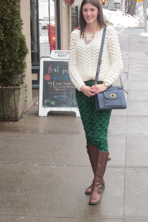 Fossil bag - Aldo boots - Club Monaco sweater - Simons necklace