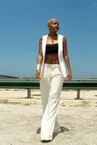 sleeveless asos blazer - frills Urban Outfitters bra - Zara pants