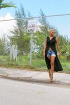 black emanuel ungaro dress - blue Levis shorts - burnt orange Kandee pumps