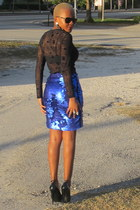 blue Zara skirt - black versace blouse - black Steve Madden pumps
