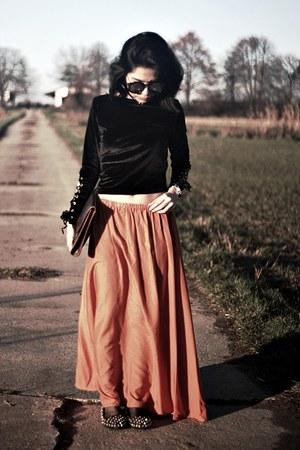 orange zaful skirt - velvet zaful top