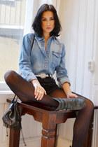 Din Sko boots - denim JC shirt - beaded Accessorize bag - vintage Levis shorts
