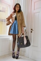 camel Zara coat - orange Hermes scarf - pink JC socks - black Miu Miu heels - bl