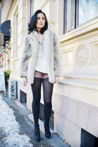 black Din Sko boots - off white faux fur vintage from Ebay jacket - pink H&M sho
