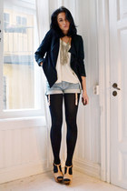 black draped JC jacket - olive green fringe H&M necklace - off white flowy H&M t