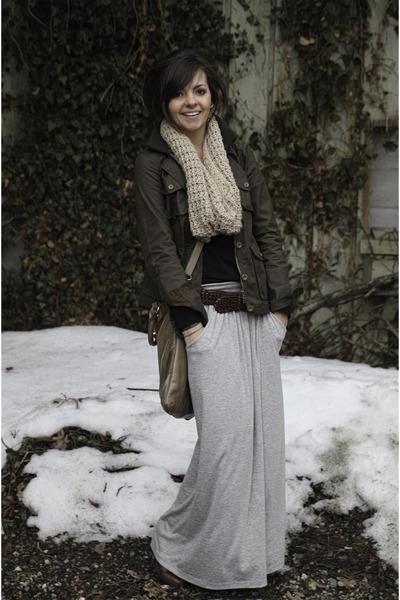 Target boots - JCrew jacket - Gap scarf - maxi Nordstrom skirt