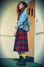 Ruby-red-vintage-pendleton-skirt-dark-green-vintage-pendleton-skirt