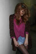dark brown leopard Nasty Gal cardigan - bronze platforms Jessica Simpson shoes