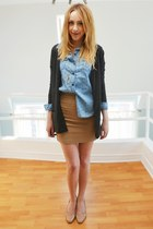 gray Old Navy cardigan - nude the bay shoes - light brown Forever 21 skirt