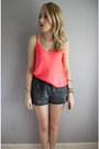 Coral-talula-top-grey-denim-american-apparel-shorts-river-island-bracelet
