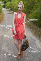 coral rayon rachel roy dress - cognac leather Aldo shoes - Michael Kors bag