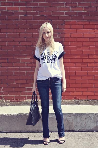 white Dressign shirt - black JustFab shoes
