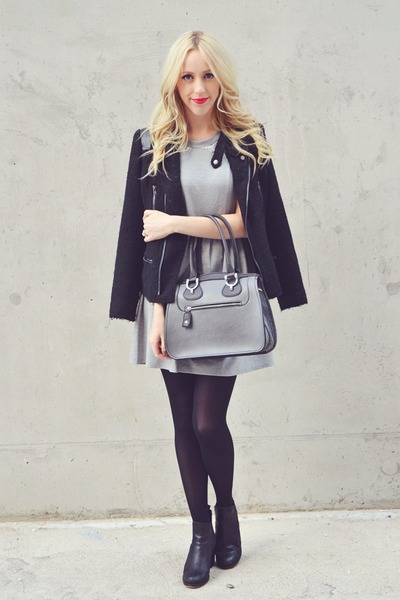 black Solective boots - silver monteau dress - black David Buffalo Bitton jacket