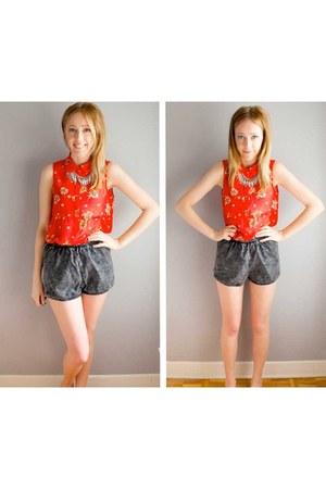 denim grey American Apparel Denim shorts - floral sheer Forever 21 top