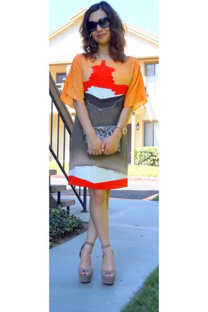 orange sheath aliceolivia dress - H&M bag - blue Chanel sunglasses
